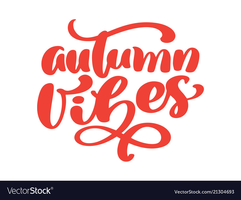Autumn vibes hand lettering phrase on orange