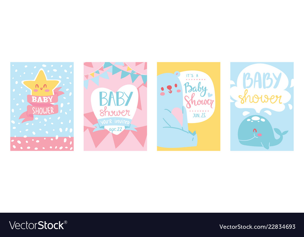 Baby shower cards set cute
