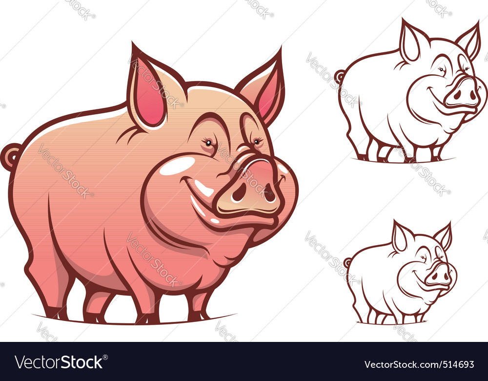 Cartoon pink pig vector image