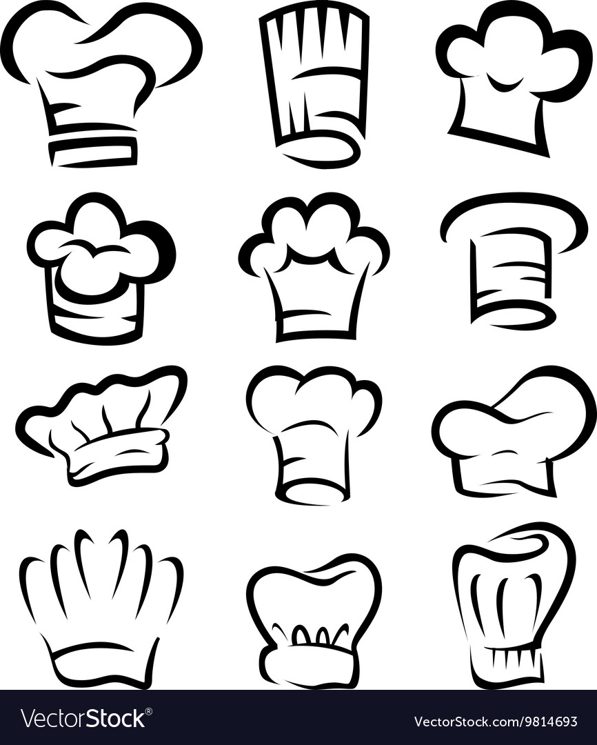 a3ca9538 Collection of chef hat cartoon Royalty Free Vector Image