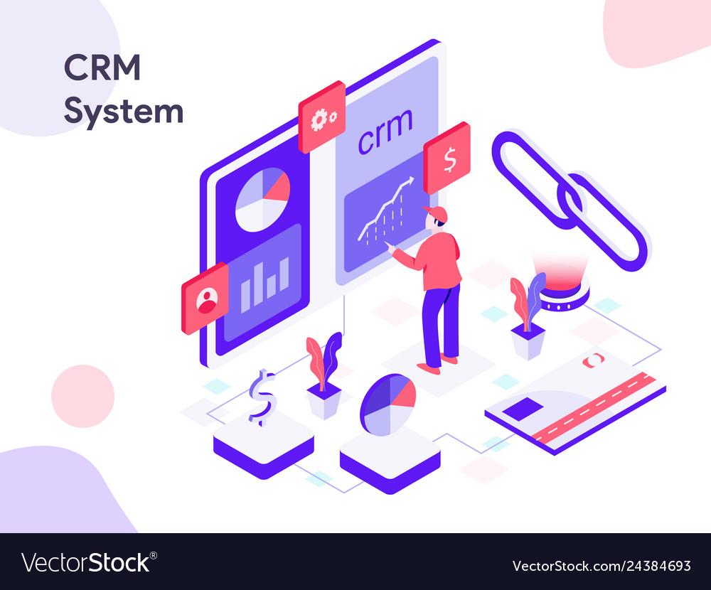 Crm system isometric modern flat design style