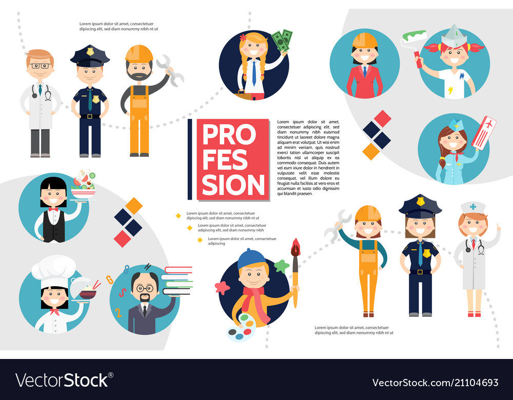 Flat professions infographic concept