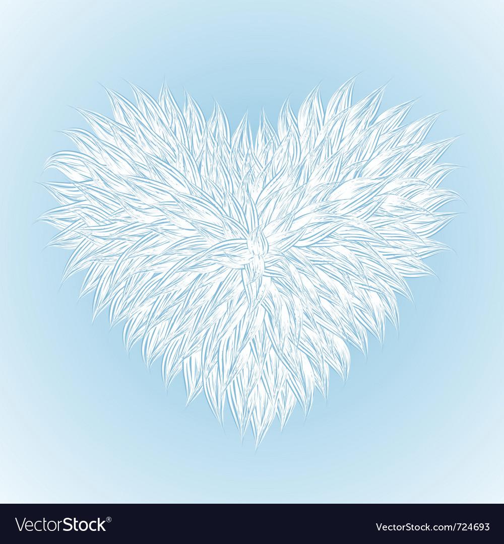 Fluffy white heart vector image