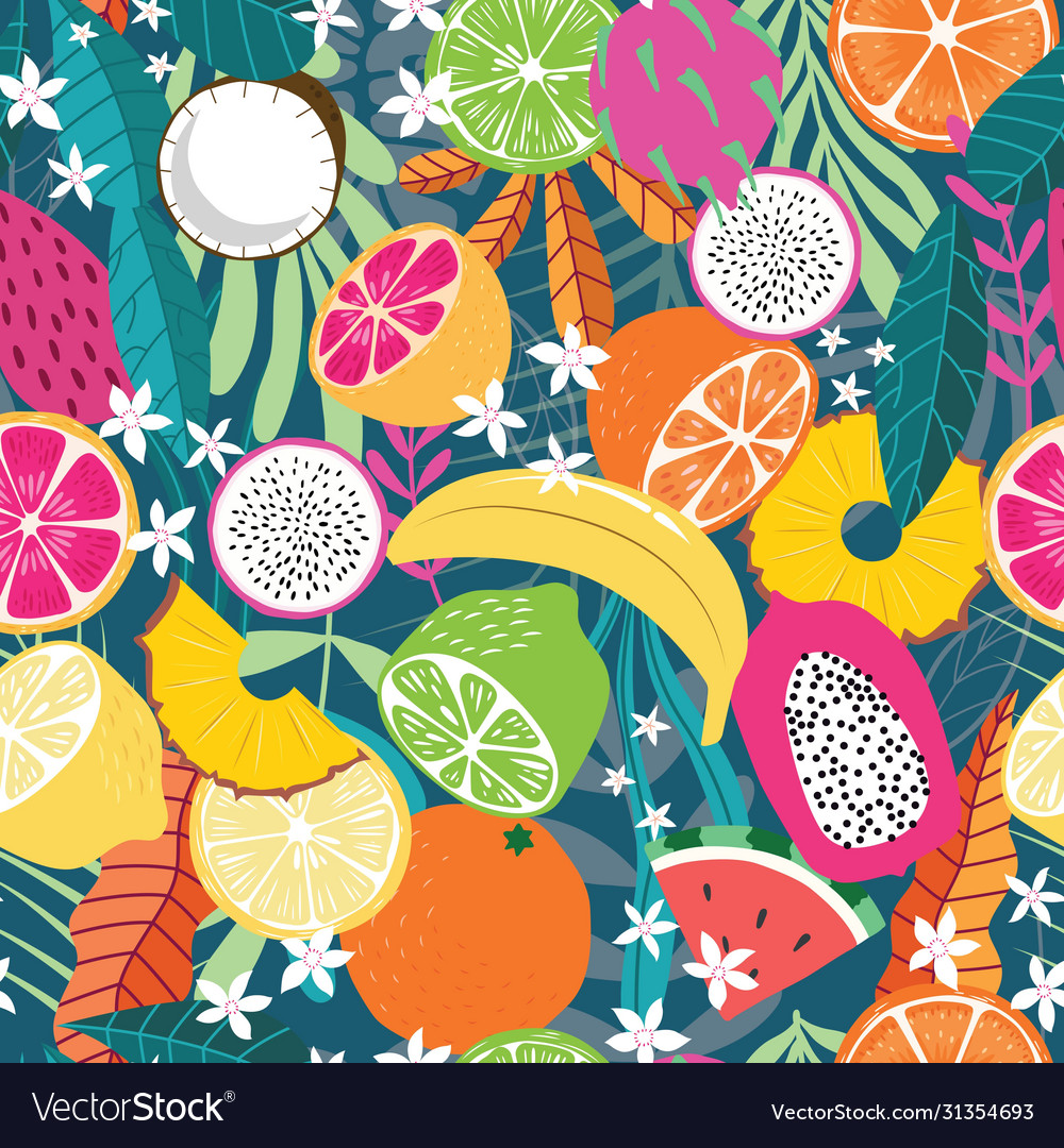 Fruit seamless pattern collection exotic fruit