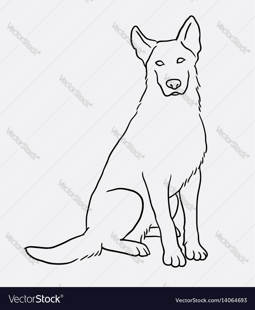German shepherd sitting pet dog doodle style