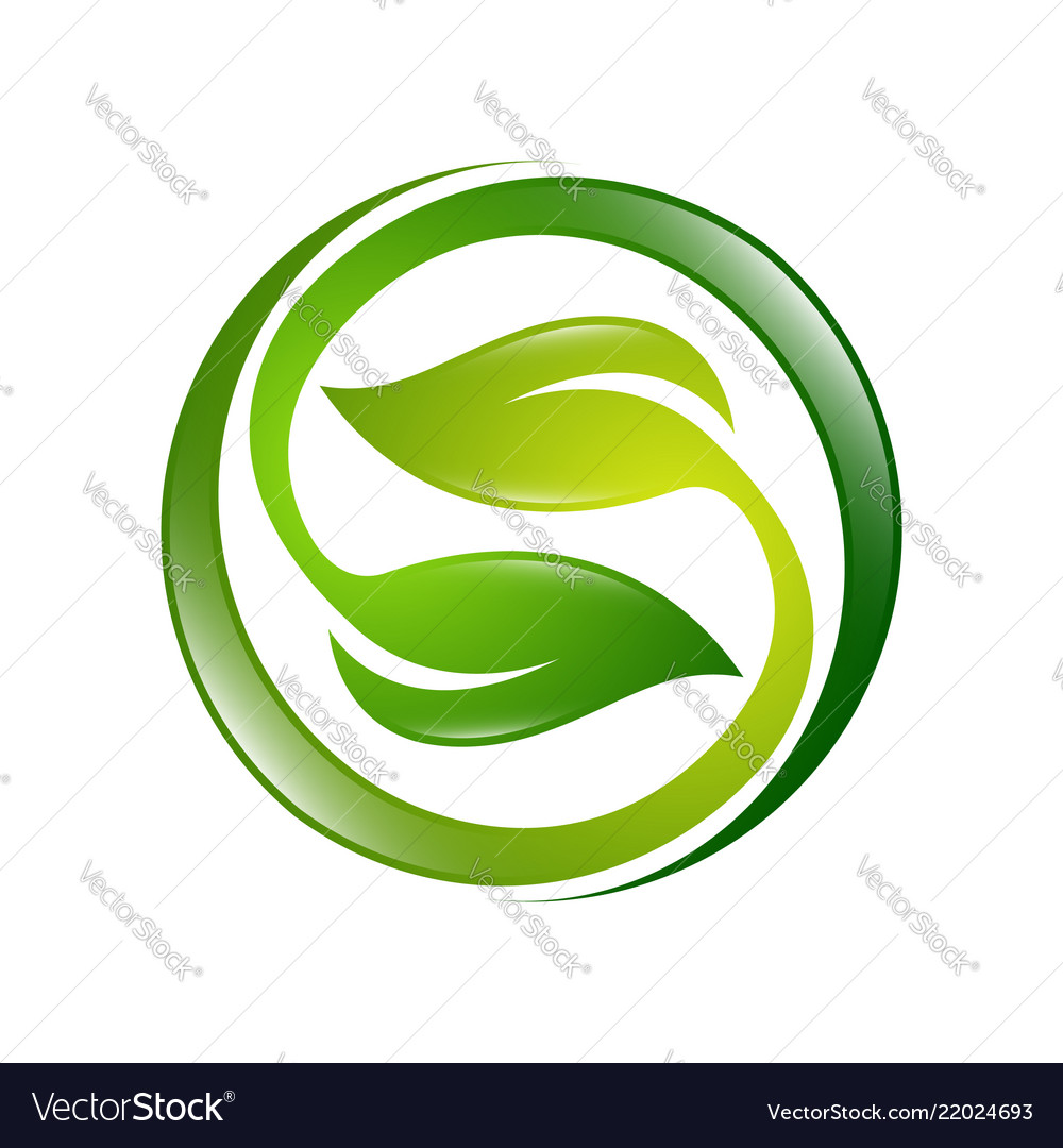 Green leaves icon ecology sphere logo