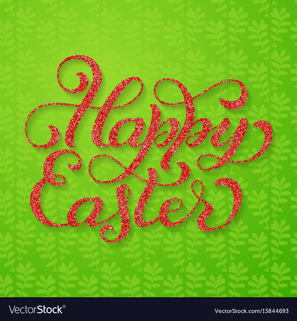 Holiday gift card with hand lettering happy easter