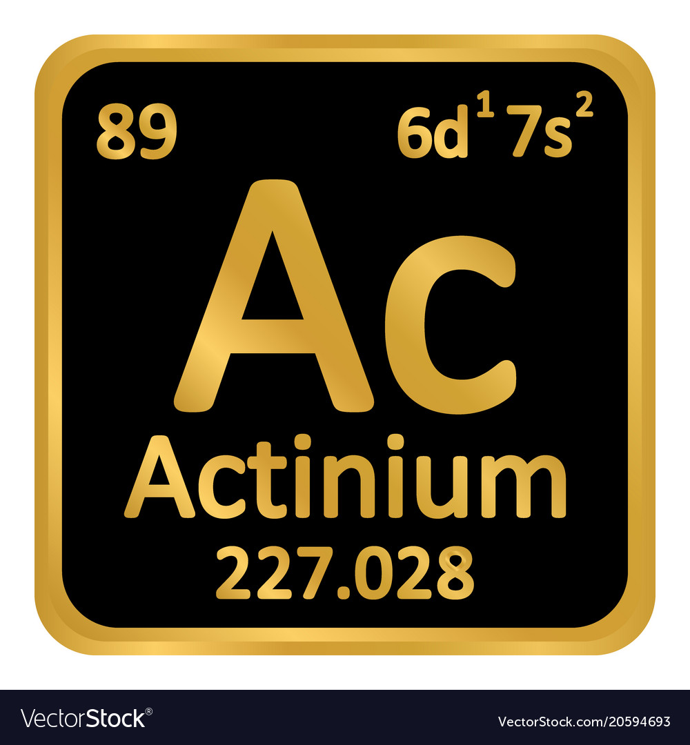 Periodic Table Element Actinium Icon Royalty Free Vector