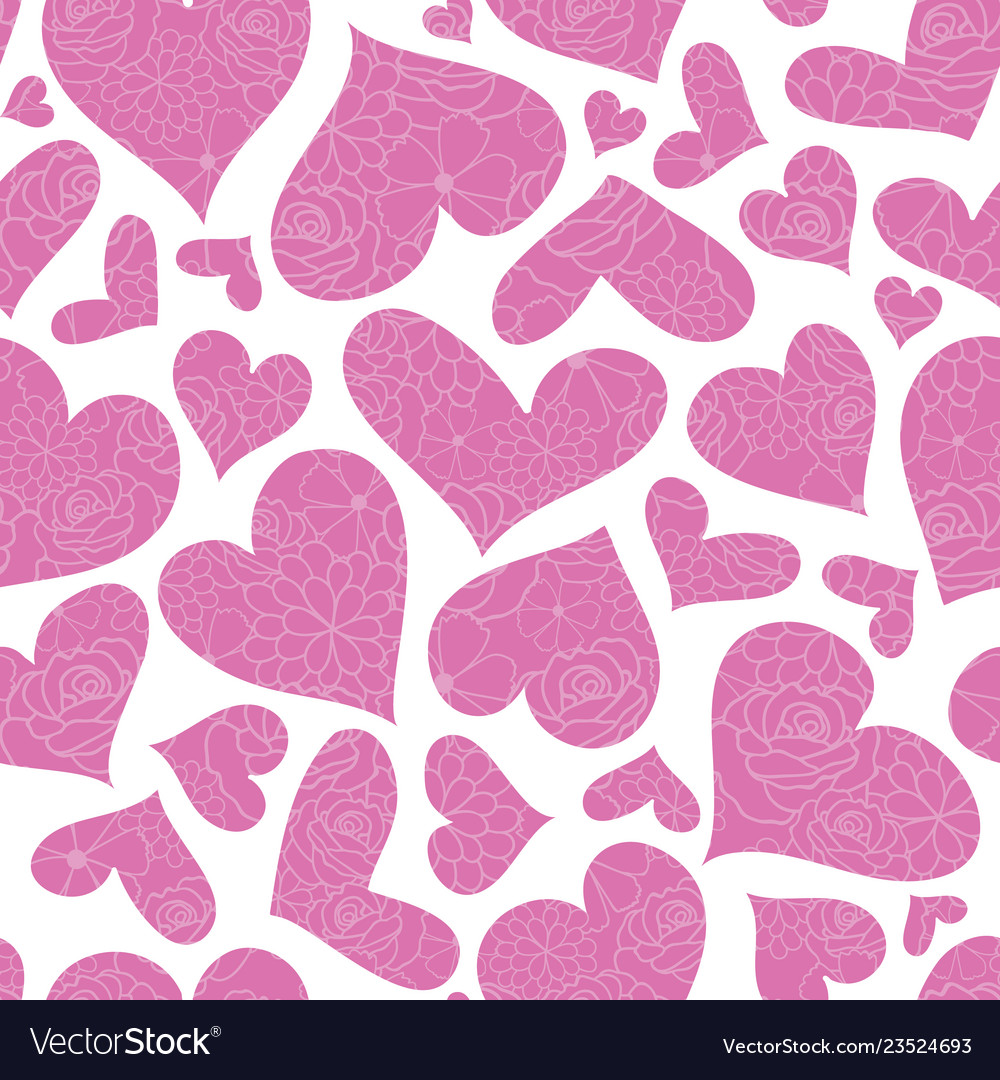 Pink floral hearts seamless pattern