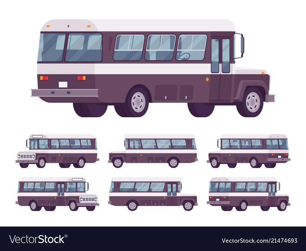 Retro bus black-white set