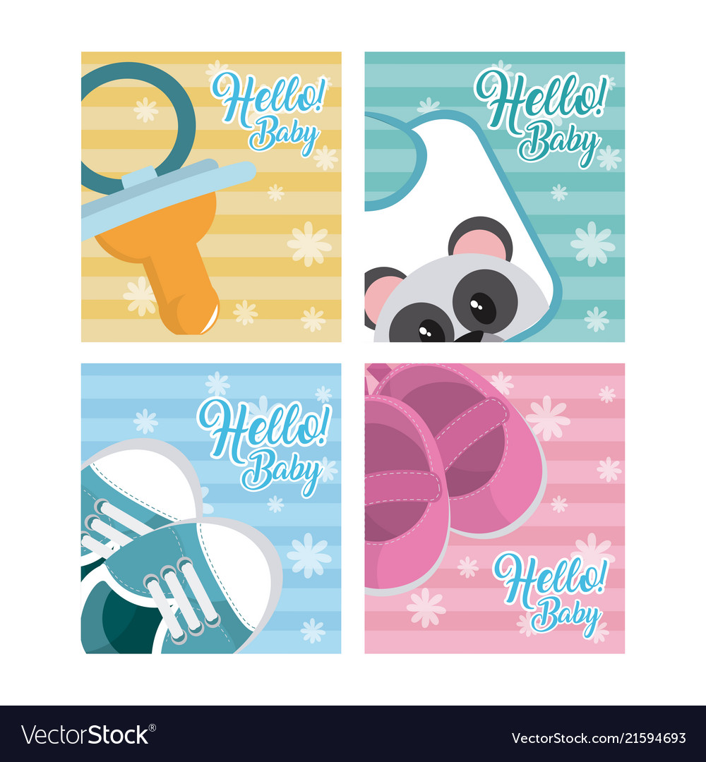 Set of hello baby cards