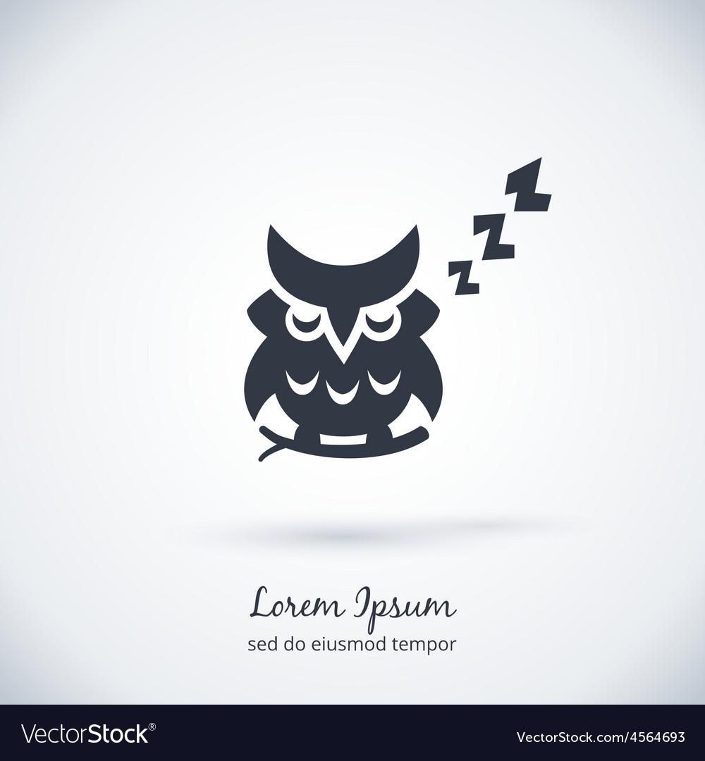 Sleeping owl logo Dream concept icon