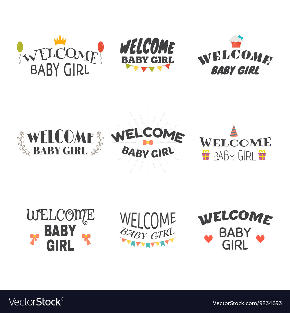 Welcome baby girl Baby girl arrival postcards Set