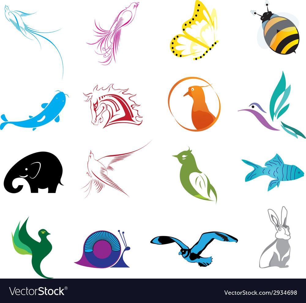 Animal logo icons set