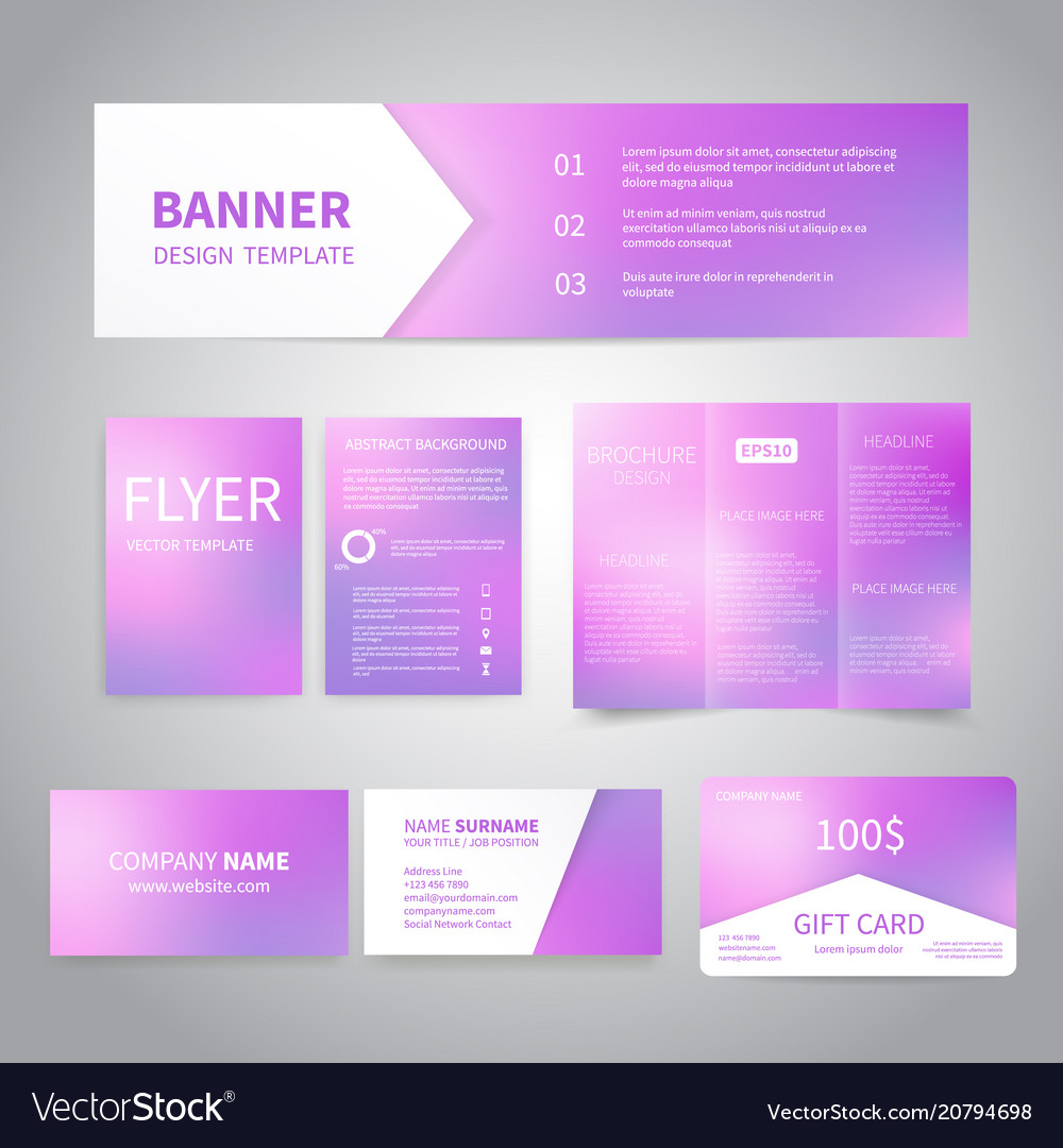 Banner flyers brochure business cards Royalty Free Vector