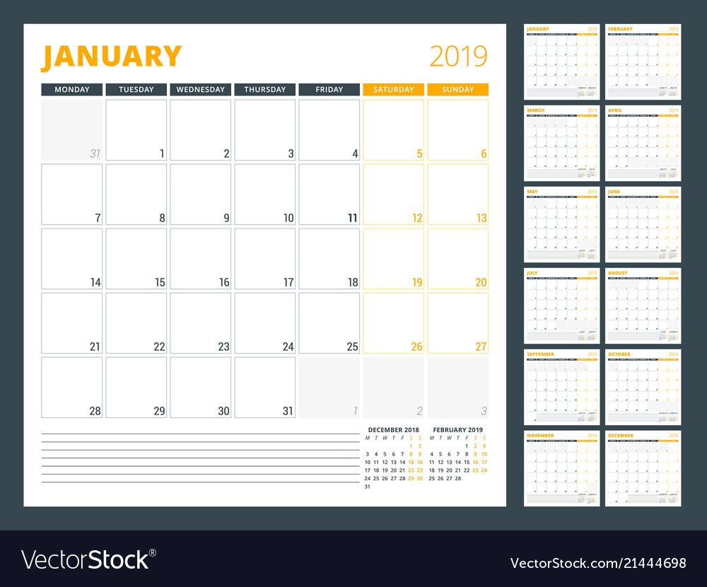 Calendar Planner Template For 2019 Year Week Vector Image