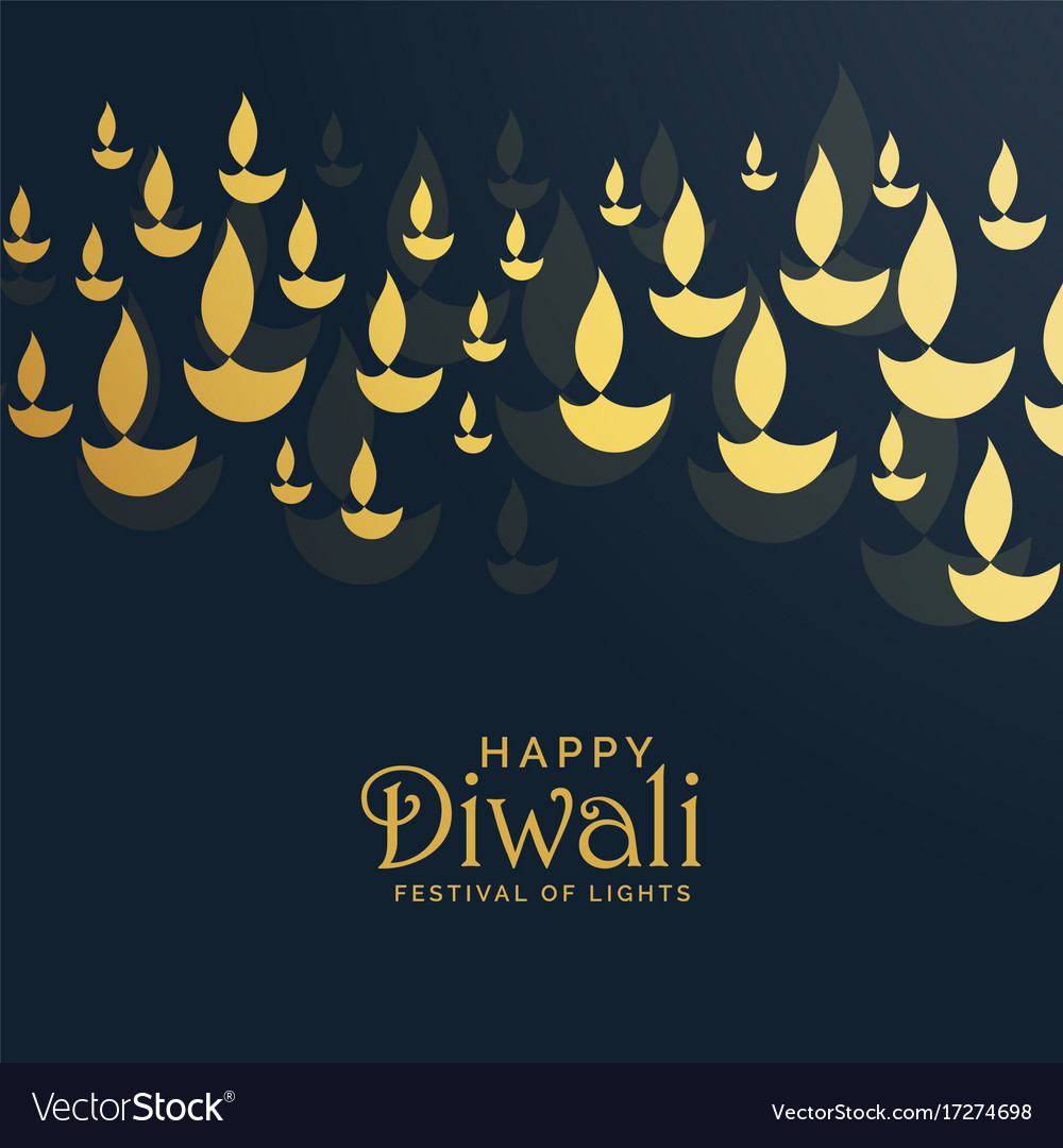 Diwali greeting card design with floating golden vector image m4hsunfo
