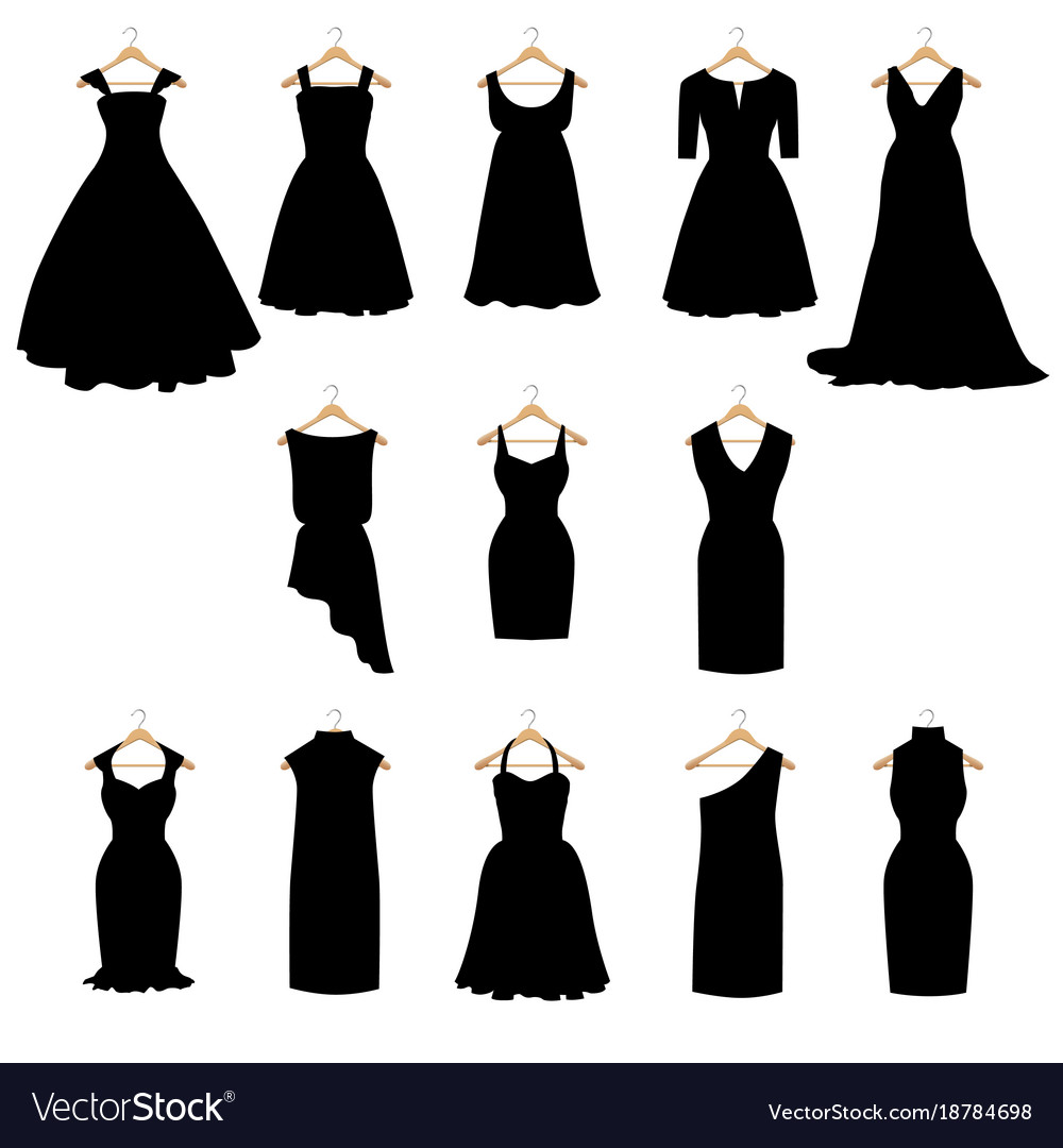 Dresses Silhouette Set Royalty Free Vector Image
