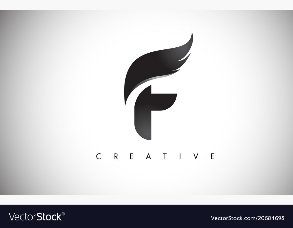 F letter wings logo design with black bird fly Vector Image