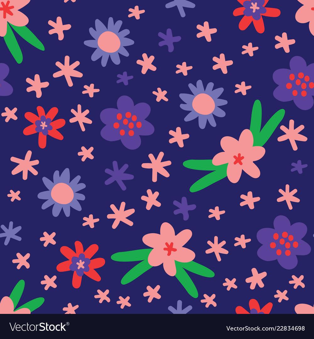 Flat colour flowers seamless pattern