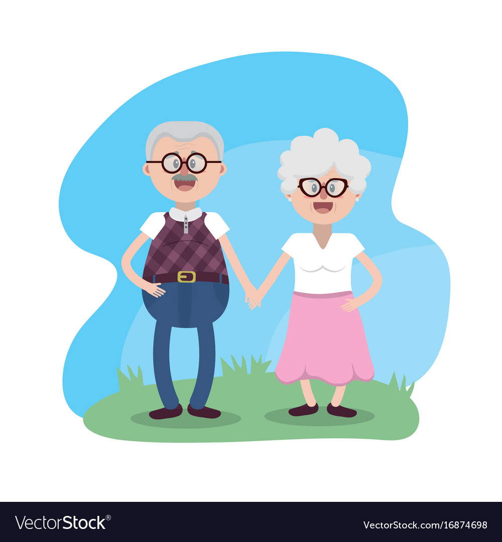 Grandparent together with glasses and hairstyle