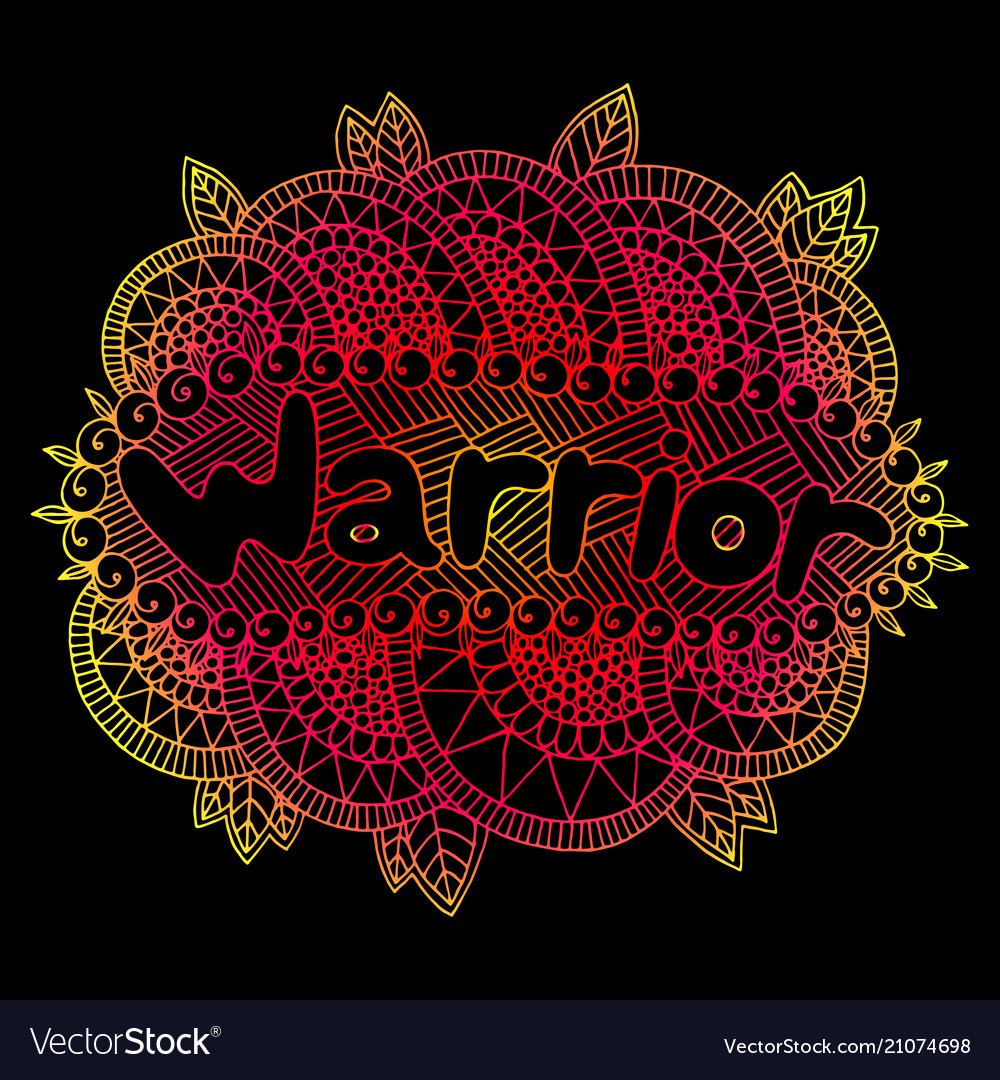 Graphic art with mandala and warrior gradient