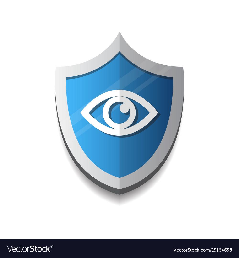 Shield eye icon blue on white background vector image