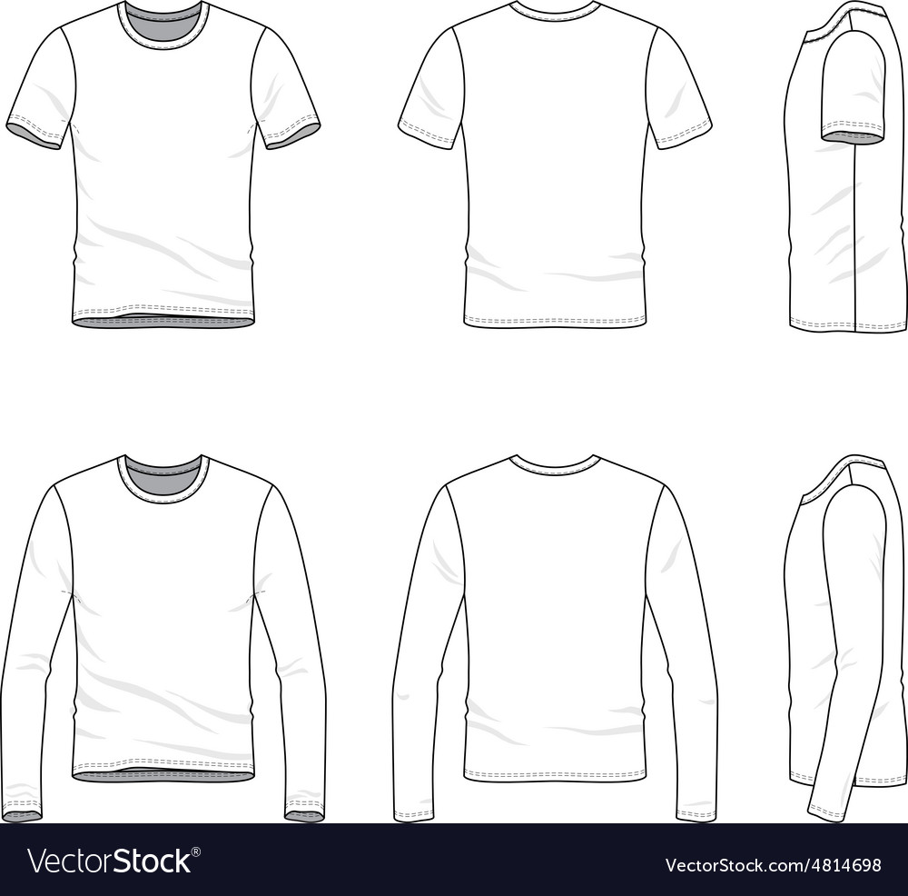 Simple outline drawing of a mens blank t shirt and