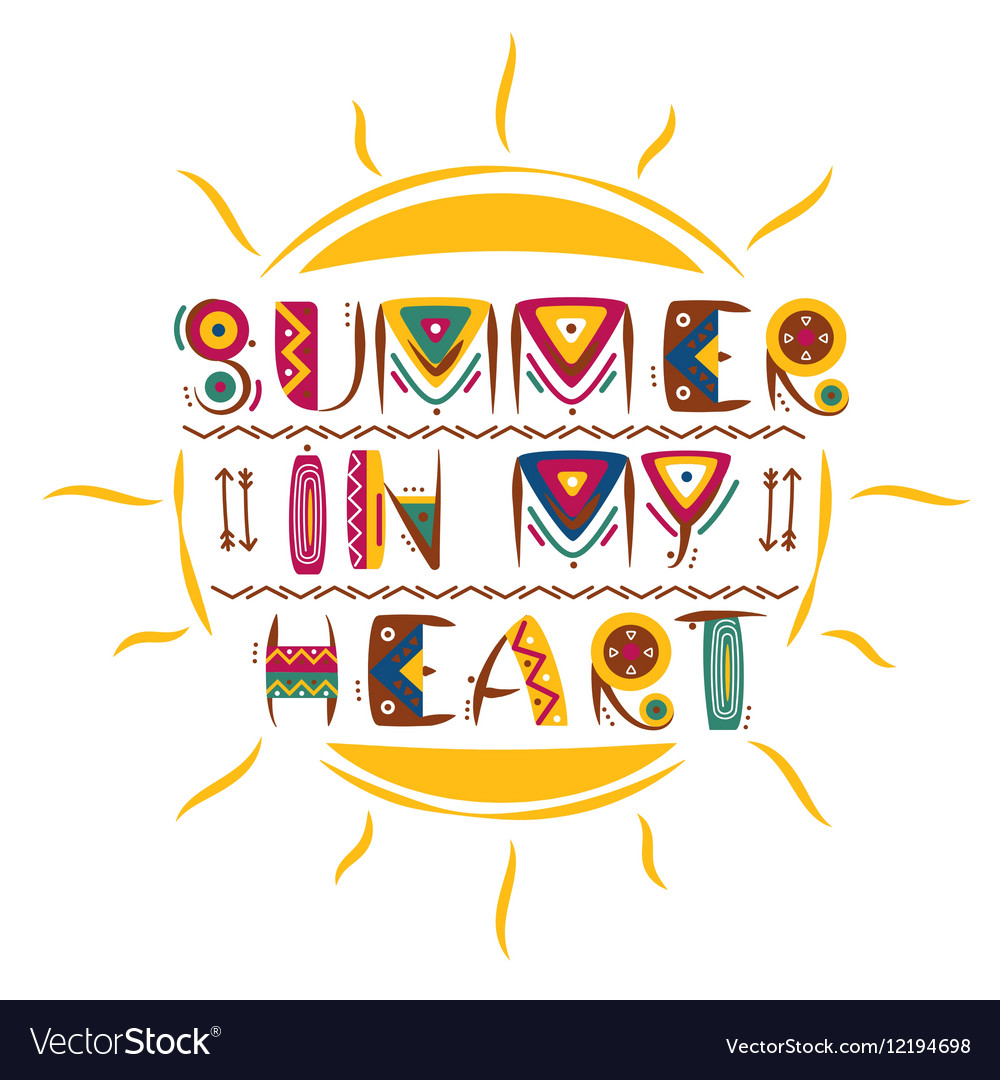 Summer in my heart words design in colored