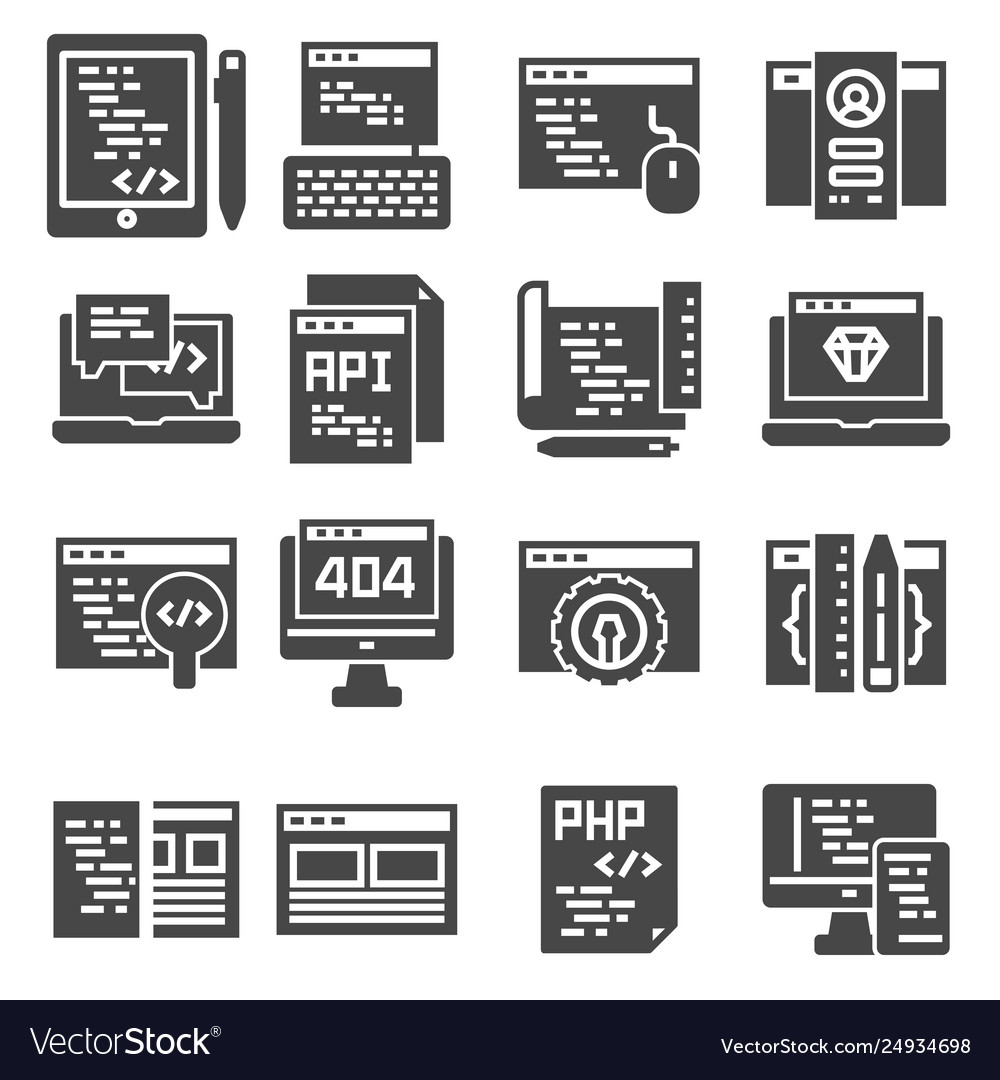 Web development icons set gray color icons