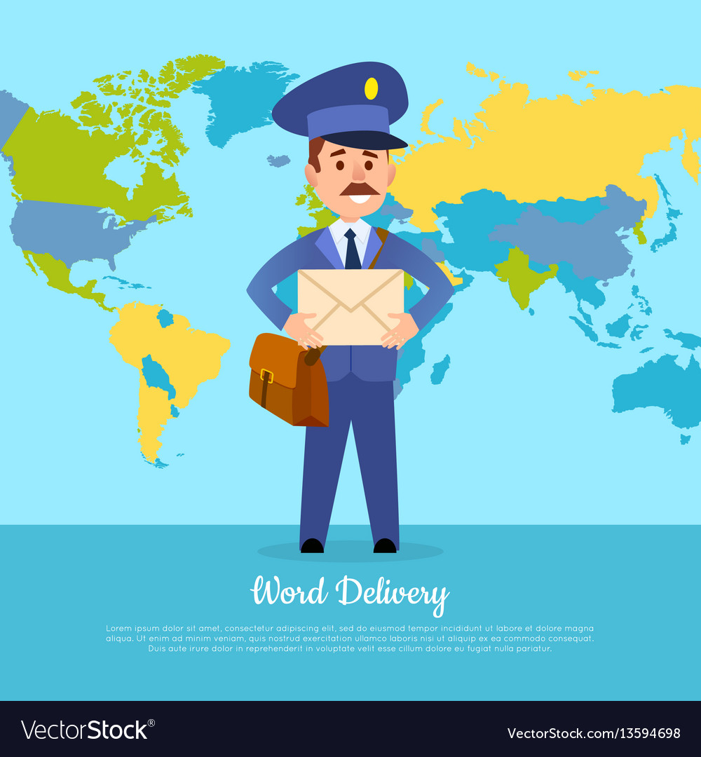 World delivery banner with postman mailman in