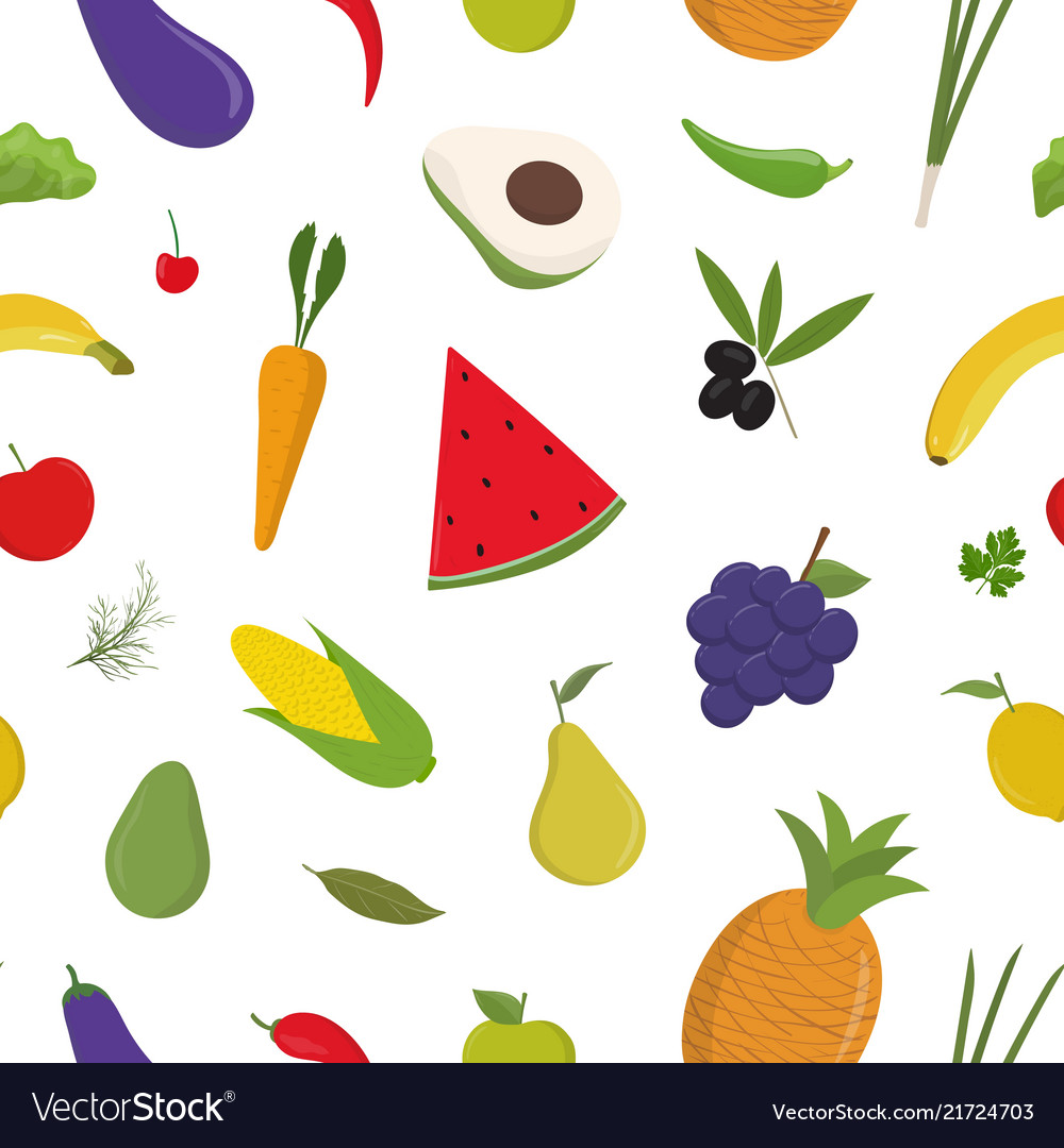 Bright colored seamless pattern with fruits and