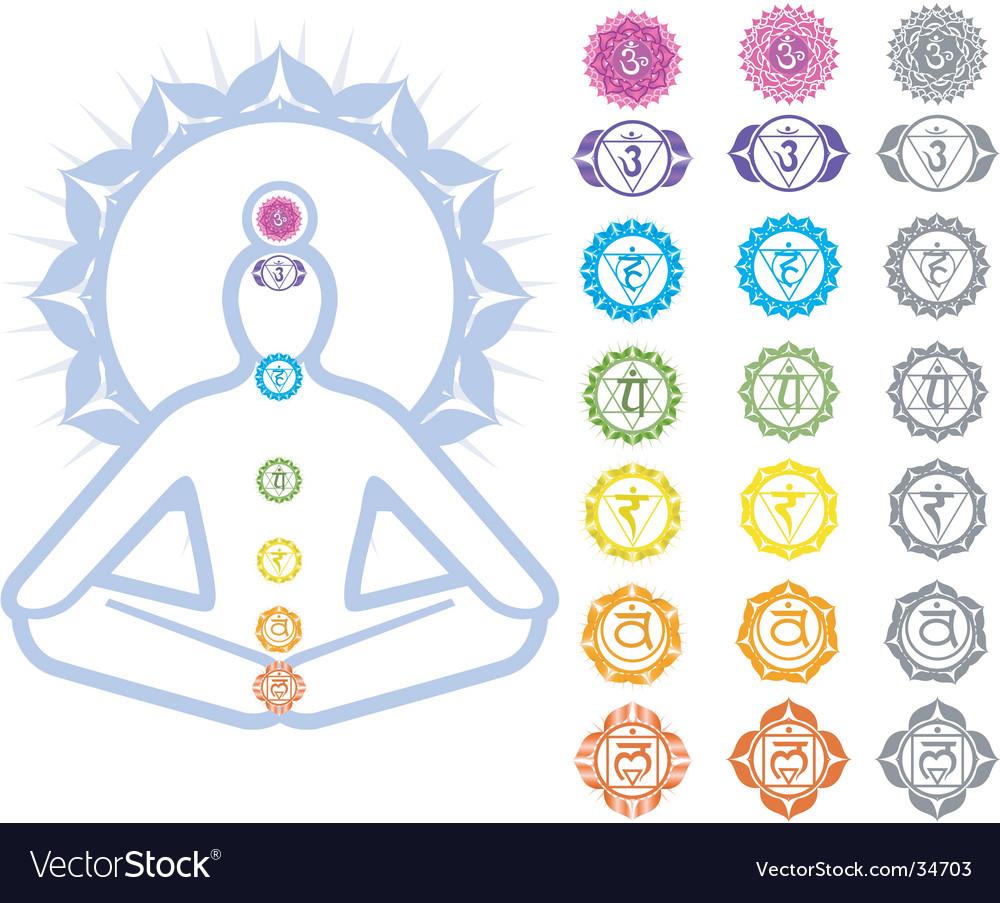 Chakras symbols vector image