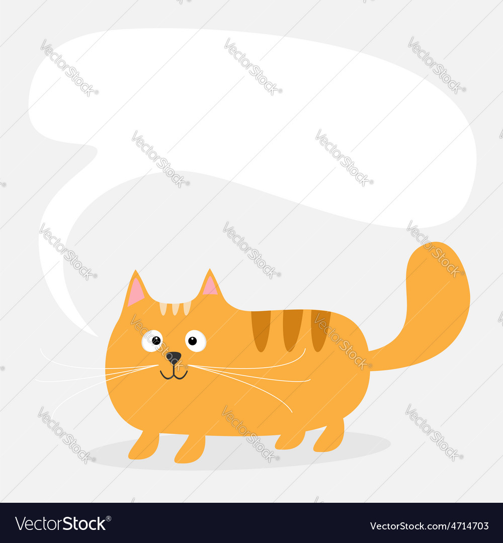 Cute cartoon red cat and empty talk think bubble vector image