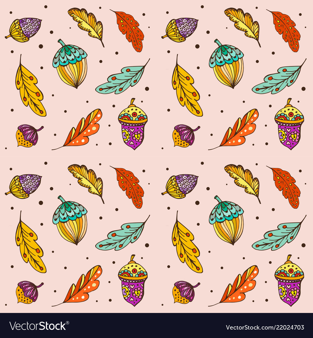 Doodle pattern colorful autumn leaves and acorns