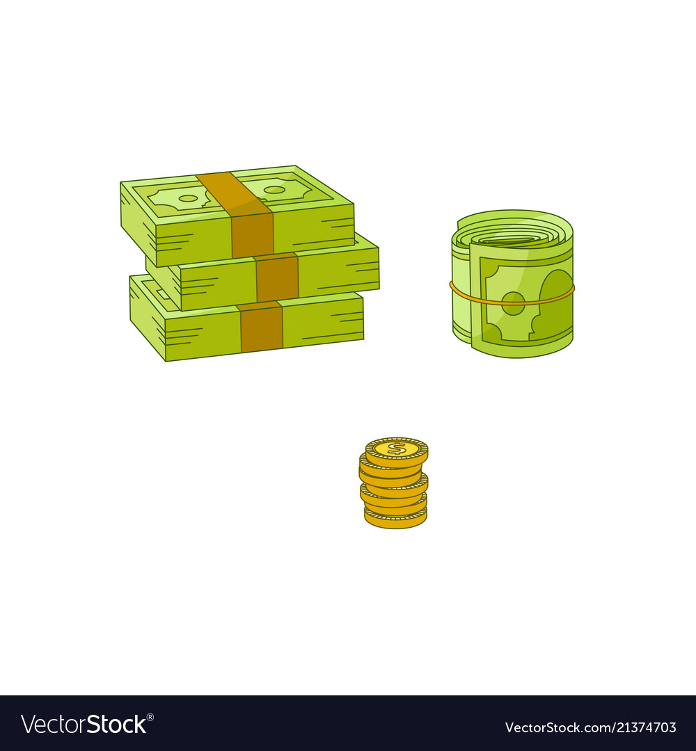 Flat cash money pile stack gold coin set