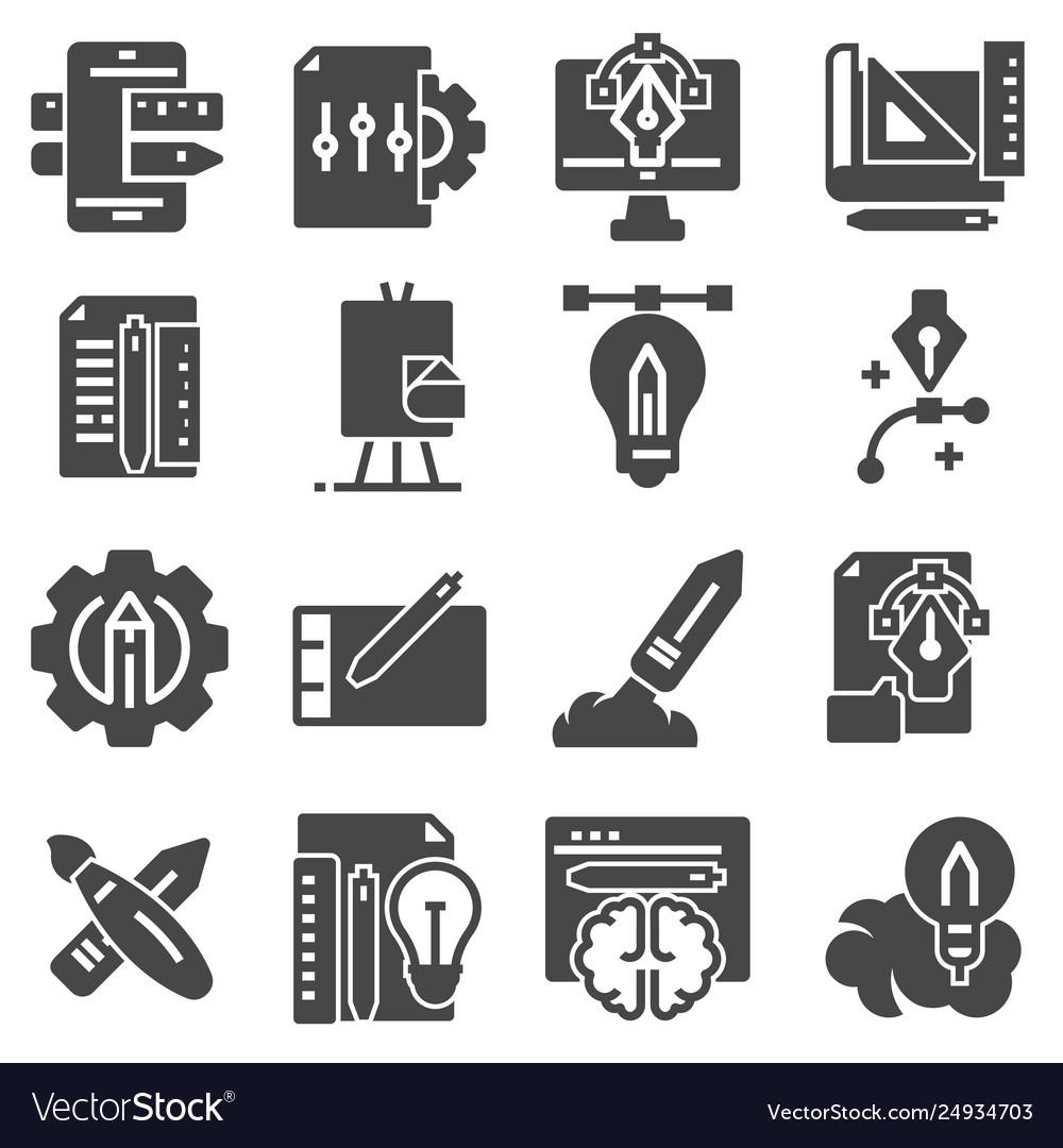Flat gray creative process icons set