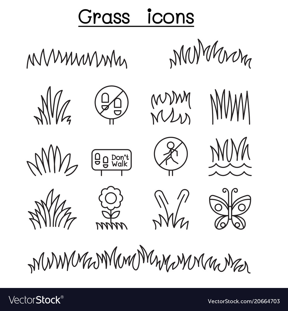 Grass icon set in thin line style