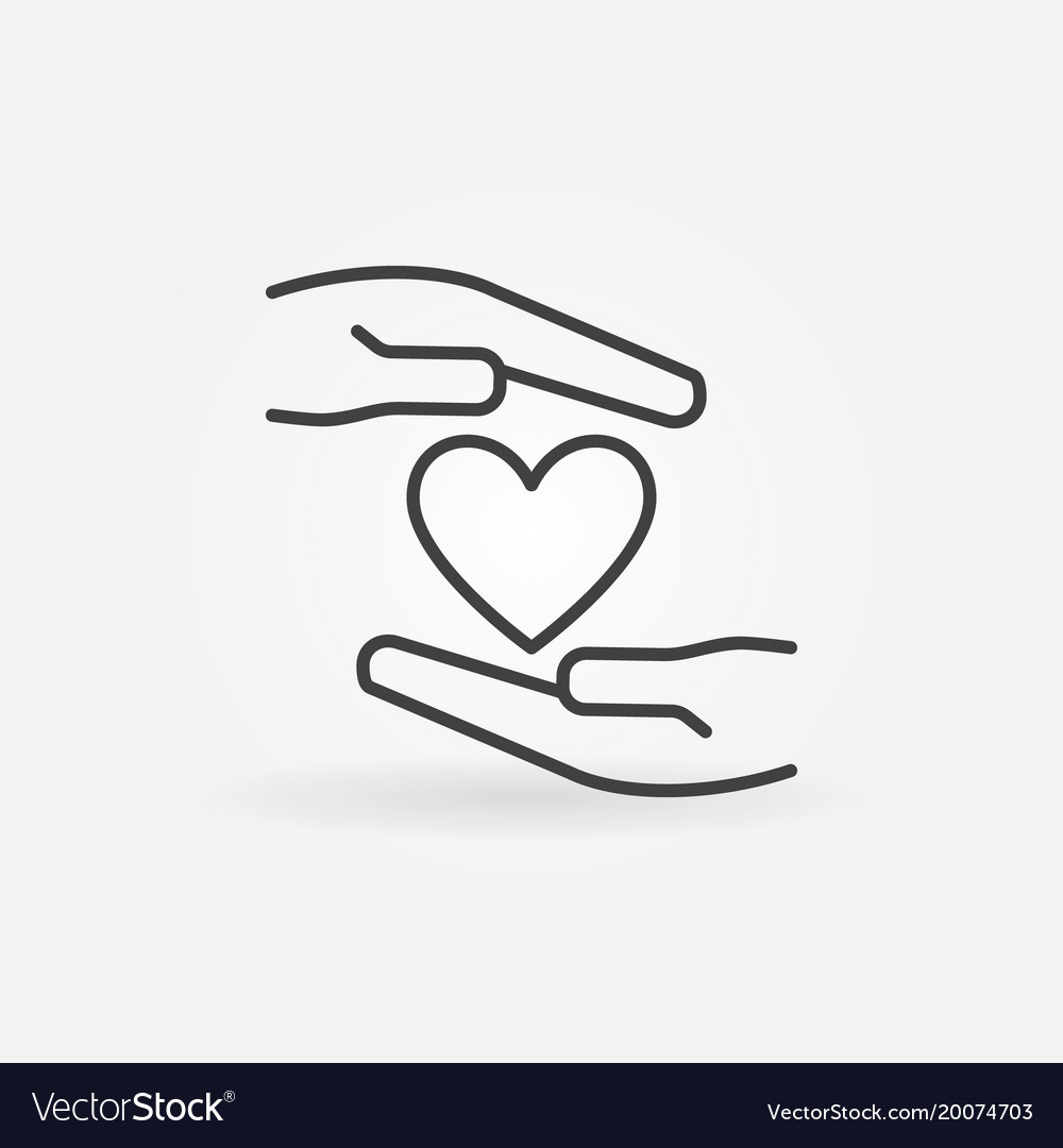 Hands with heart outline icon or sign vector image