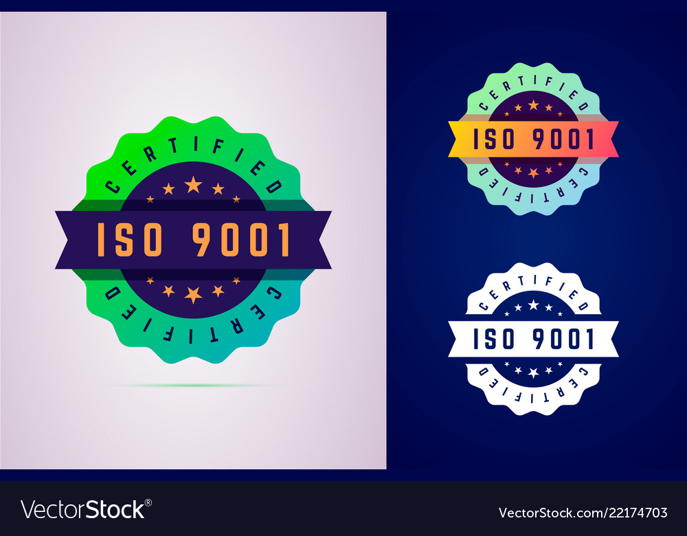 Iso 9001 certified badge three color variants