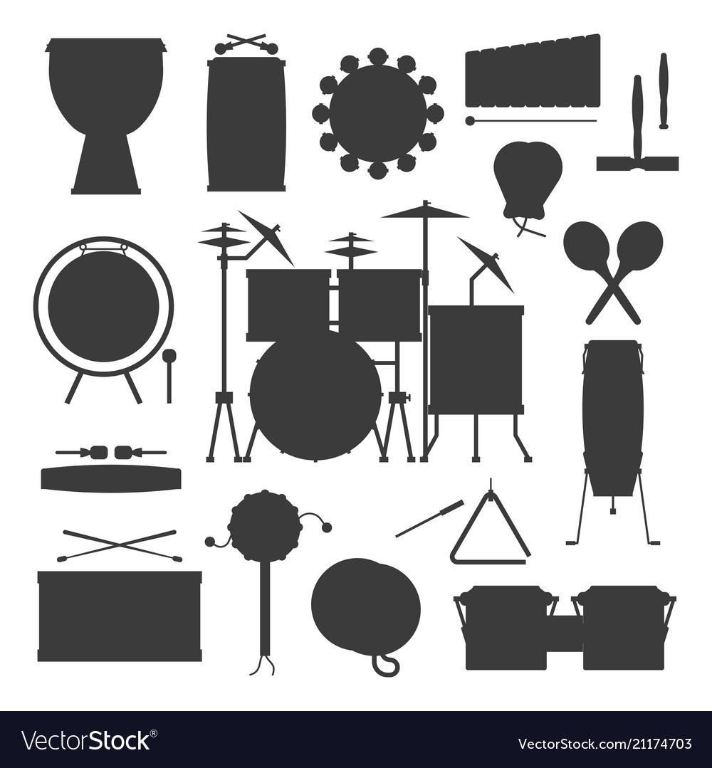 Musical drum silhouette wood rhythm music