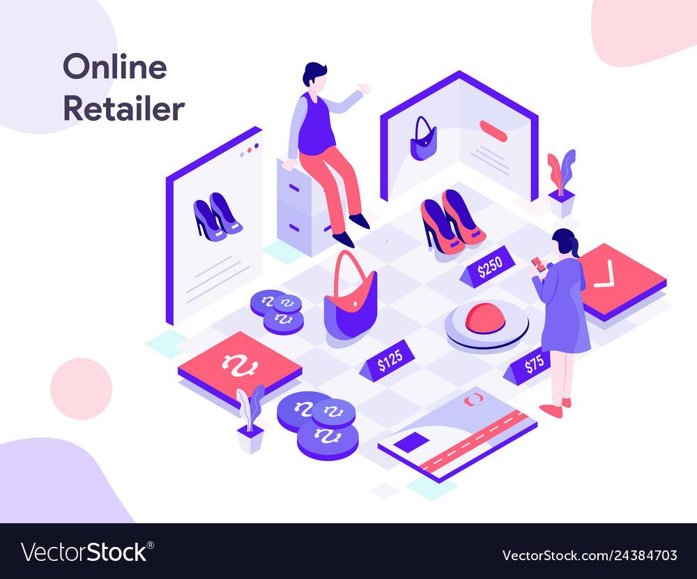 Online retailer isometric modern flat design
