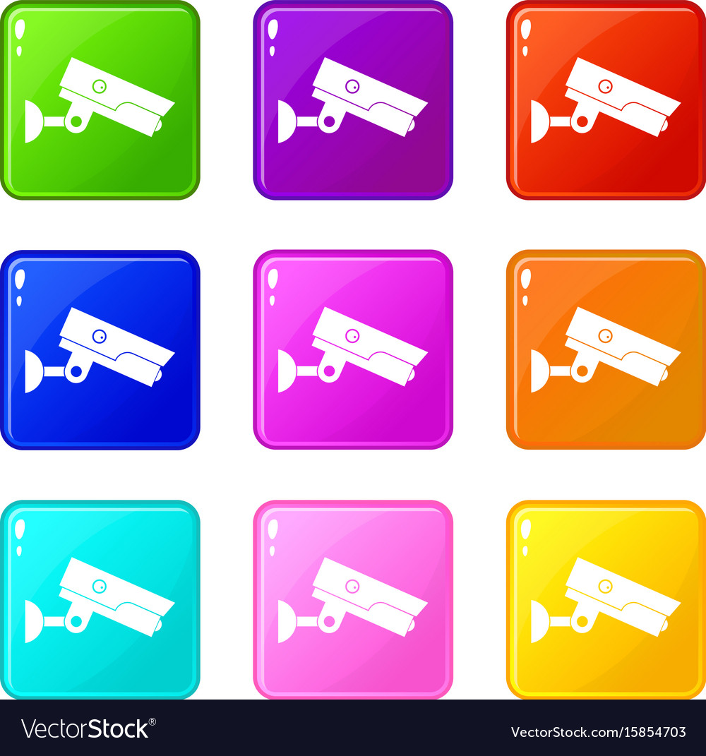 Security camera icons 9 set