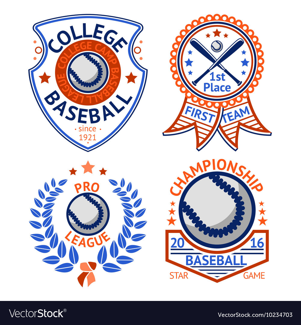 Set of old style Baseball Labels with ball and