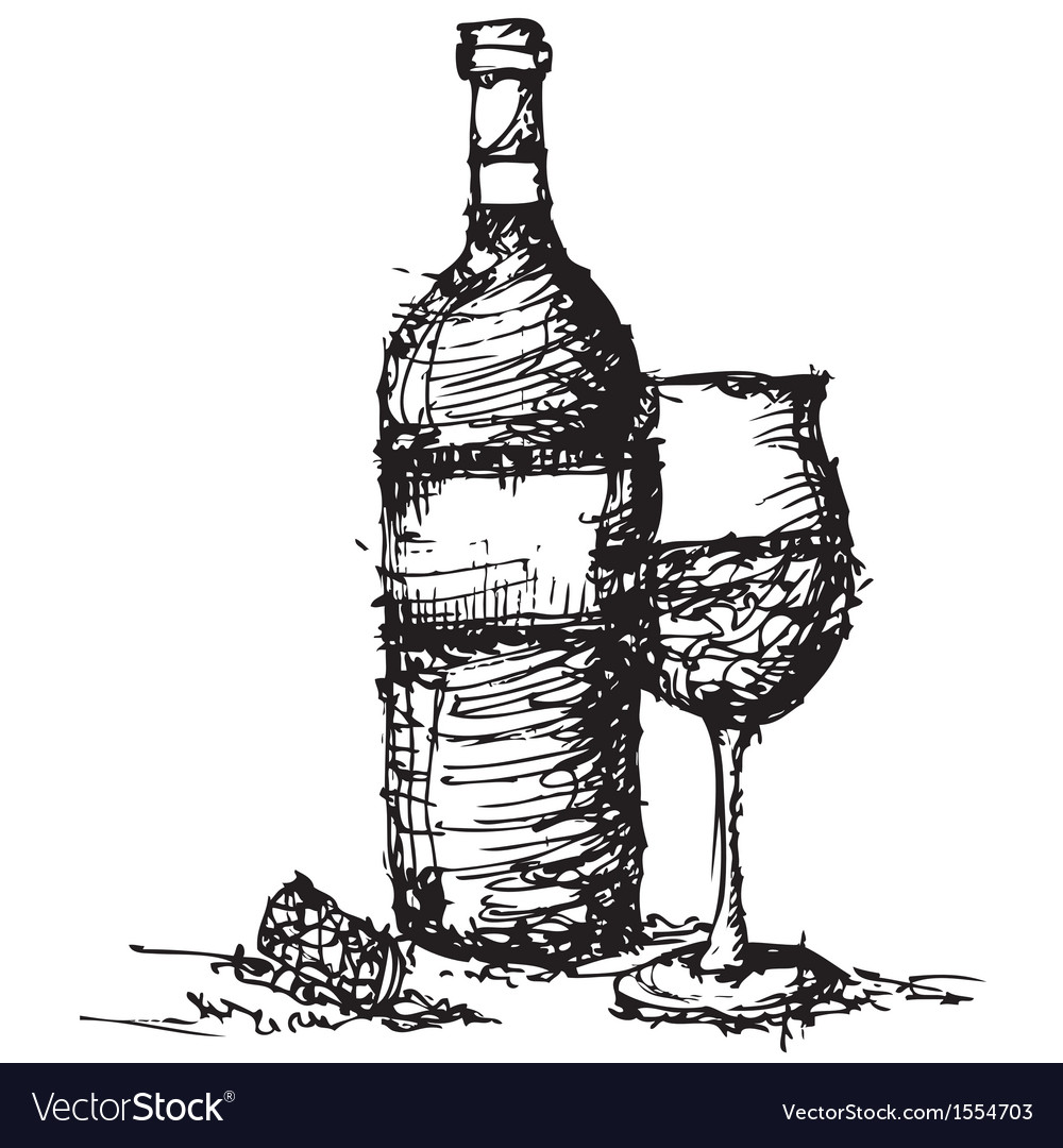 sketch drawing of wine bottle and glass royalty free vector