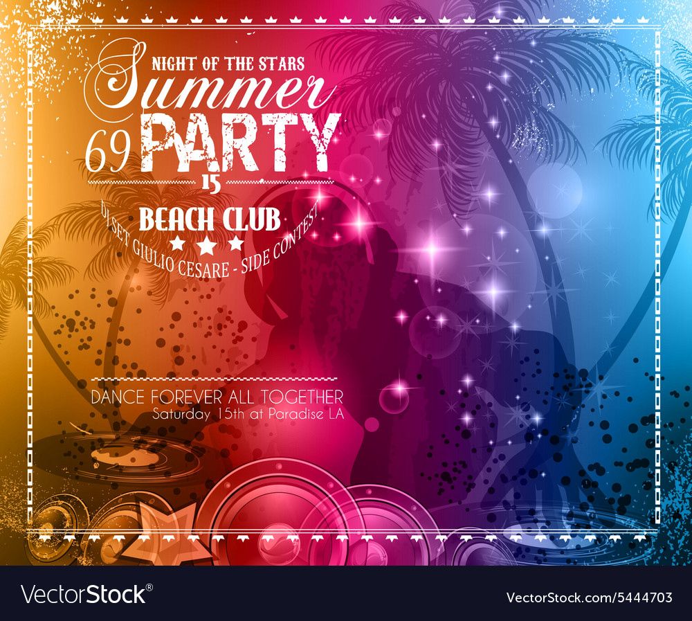 Summer Party Flyer for Music Club events vector image
