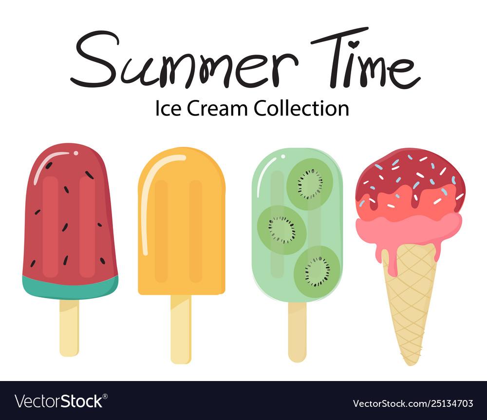 Summer time flat fruit ice cream popsicle