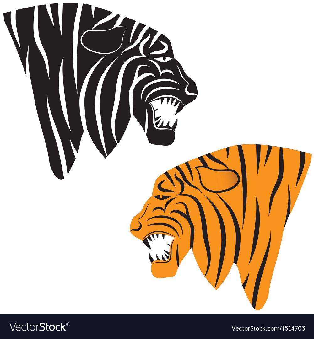 Tiger tattoo Tiger head animal vector image