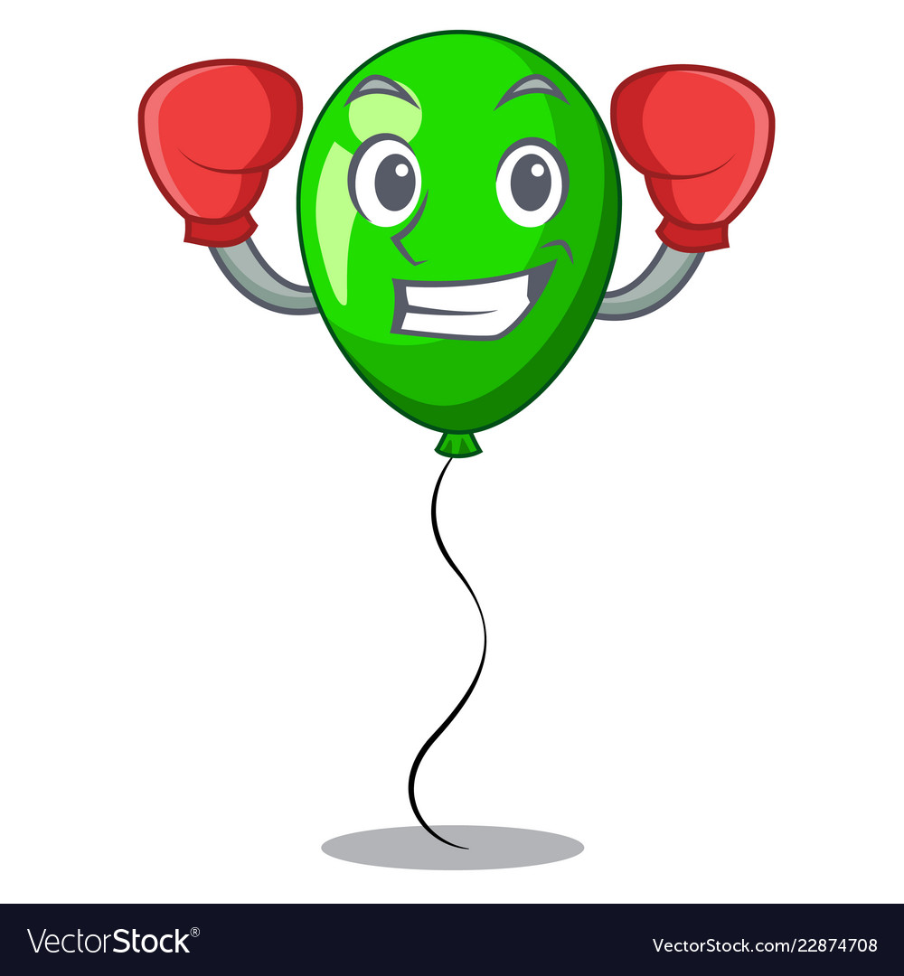 Boxing Green Balloon Cartoon Birthday Very Funny Vector Image
