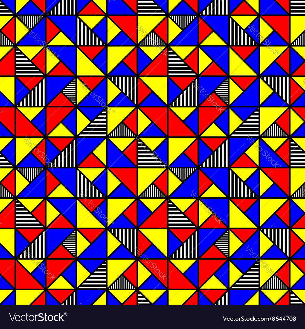 Bright colored pattern with squares and triangles